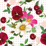 Seamless pattern of  the roses, the pansies and  the cherries. Bouquet of white roses and purple pansies and cherries Royalty Free Stock Photography