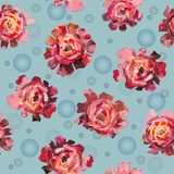 Seamless pattern of roses, peonies flowers with balls. Vintage style floral pattern Royalty Free Stock Photos