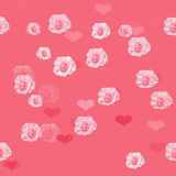 Seamless pattern of roses. Seamless pink background with roses and hearts royalty free stock images