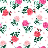 Seamless pattern with roses-01. Polka dot seamless pattern with beautiful red,pink roses . Vector illustration.Print for textile,fabric, wrapping paper,design a Stock Image