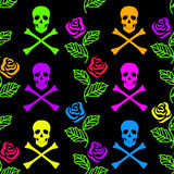 Seamless pattern of roses and skulls Stock Photography