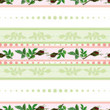 Seamless pattern of roses and of stripes Stock Image