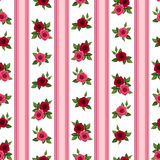Seamless pattern with roses and stripes. Royalty Free Stock Images