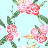 Seamless pattern with flowers. Watercolor royalty free illustration