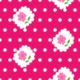 Seamless pattern with roses and white dots on pink background. Stock Photography