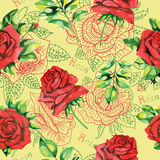 Seamless pattern with roses on yellow Royalty Free Stock Photo