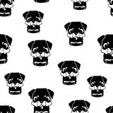 Seamless pattern with rottweiler puppies. Black and white vector Stock Photography