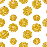 Seamless pattern of round coins with dollar signs of golden glitter Stock Images