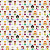 Seamless pattern with round flat people avatars. Royalty Free Stock Images