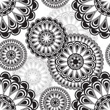 Seamless pattern with round floral ornament Stock Photography