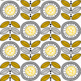 Seamless pattern Round Flowers. Embellished graphical flowers and leaves Royalty Free Stock Photo