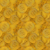 Seamless pattern of round golden hand drawn coins with dollar signs Stock Images