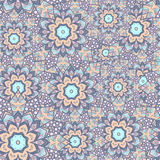 Seamless  pattern of round ornaments and abstract flowers. Stock Image