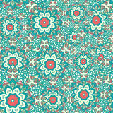 Seamless  pattern of round ornaments and abstract flowers. Stock Photo