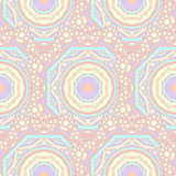 Seamless  pattern of round ornaments and other abstract elements. Royalty Free Stock Photography