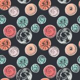 Seamless pattern with round textured stains. Abstract background with different circular prints. Spots, blots. Creative design. Can be used for wallpaper Royalty Free Stock Photography