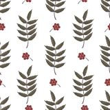 Seamless pattern with rowan berries and leaves. vector illustration