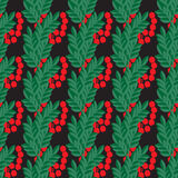Seamless pattern with rowan on the black background Stock Images