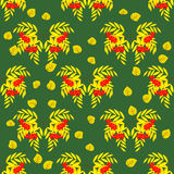 Seamless pattern of rowan branches with berries-02 Royalty Free Stock Photos