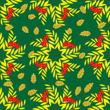 Seamless pattern of rowan branches in the shape of star-02. Seamless pattern of branches with berries of mountain ash and autumn leaves. Autumn beautiful Royalty Free Stock Photos