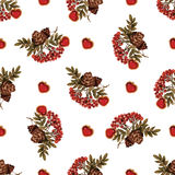 Seamless pattern with rowan and cones and hearts Royalty Free Stock Photography
