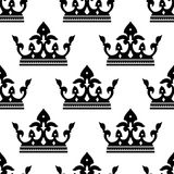 Seamless pattern of a royal crown silhouettes Royalty Free Stock Photography