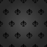 Seamless Pattern With Royal Lily. Seamless dark ornament. Modern geometric pattern with royal lilies Stock Image