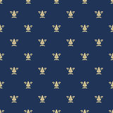 Seamless pattern with royal lily texture. Background blue, ornate repeat, fashion vector illustration Stock Photos