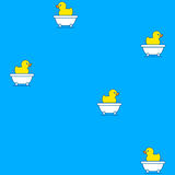 Seamless pattern of rubber ducks in a bathtub Stock Photo