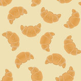 Seamless pattern with ruddy croissants for wrapping, kraft, cards, textile, print. Croissant with sesame seeds.Bakery products. Background. Vector colorful Royalty Free Stock Image