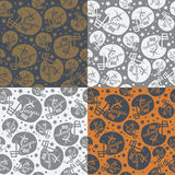 Seamless pattern rugby helmet. In comic style. Color options Royalty Free Stock Image