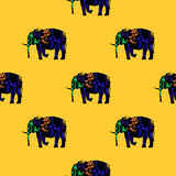 Seamless pattern of a running elephant. Royalty Free Stock Images