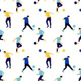 Seamless pattern with running men playing footbal kicking the ball. Bright cartoon silhouette on white backdrop. Sport activity games vector illustration