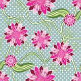Seamless pattern of rural zinnia flowers Stock Photography