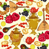 Seamless pattern with russian cuisine. Russian food vector background. Stock Photos