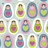 Seamless pattern Russian dolls on a blue, green, purple background. Vector Stock Image