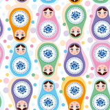 Seamless pattern Russian dolls. Blue, green, purple, pink. Vecto Royalty Free Stock Photo