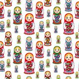 Seamless pattern with Russian dolls Royalty Free Stock Photography