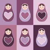 Seamless pattern Russian dolls matryoshka with hearts on purple background. Vector Stock Image