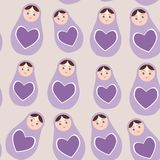 Seamless pattern Russian dolls matryoshka purple background with hearts. Vector Stock Images