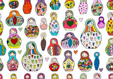 Seamless pattern with russian nesting dolls, Matryoshka Royalty Free Stock Photo