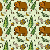 Seamless pattern with  Russian traditional elements Royalty Free Stock Photo