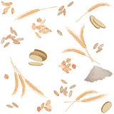 Seamless pattern with rye foodstuff. There are rye ears, grains, flakes, bread and flour in pattern Stock Image