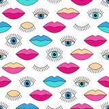 Seamless pattern in 80s style with eyes and lips. Royalty Free Stock Photos