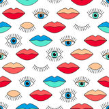 Seamless pattern in 80s style with eyes and lips. Stock Photo