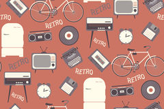Seamless pattern with 80s years old objects. Retro style, flat d Royalty Free Stock Images