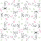 Seamless pattern  sad cat and butterfly Royalty Free Stock Photos