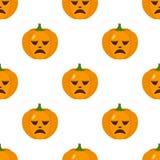 Sad Halloween Pumpkin Icon Seamless Stock Photo