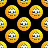 Seamless pattern with sad round face character Royalty Free Stock Images