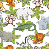 Seamless pattern with safari animals. Seamless pattern with wild safari animals and green leaves. Vector illustration Stock Photos